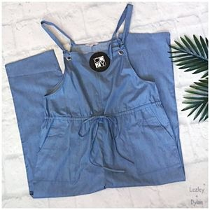 COZY CASUAL Chic Relaxed Light Chambray Overalls